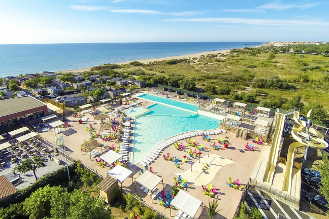 Camping Les Mediterrannees Beach Garden is een supermoderne camping in Languedoc-Roussillon.